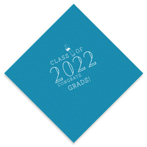 Our beautiful custom Teal Cocktail Napkin with Matte White Foil has a Graduation Scroll graphic and is good for use in Graduation themed parties and are a must-have for your next event—whatever the celebration!