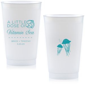 A Little Dose of Vitamin Sea cups with a fish clipart are a cute and quirky way to serve drinks at your destination wedding or bachelorette/bachelor party.