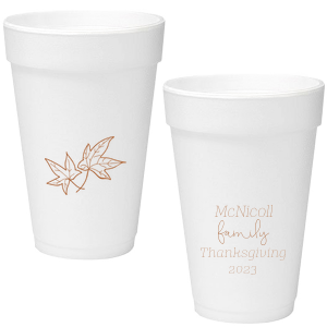 Our custom Copper Ink 12 oz Styrofoam Cup with Copper Ink Cup Ink Colors has a Two Leaves graphic and is good for use in Floral, Thanksgiving, Organic themed parties and will look fabulous with your unique touch. Your guests will agree!