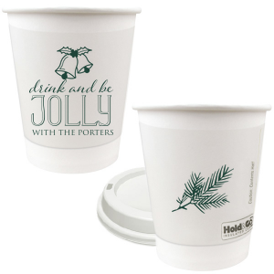 Our beautiful custom Matte Spruce 8 oz Paper Coffee Cup with Lid with Matte Spruce Cup Ink Colors has a Holiday Bells graphic and is good for use in Holiday, Christmas themed parties and are a must-have for your next event—whatever the celebration!