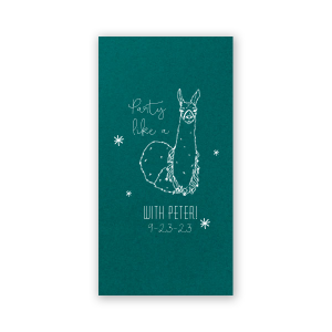 ForYourParty's elegant Poptone Teal/Peacock Party Pocket with Matte White Foil has a Party Llama graphic and is good for use in Animals, Kid Birthday, Birthday themed parties and will make your guests swoon. Personalize your party's theme today.