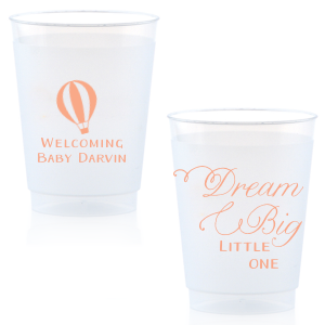 Our beautiful custom Matte Light Coral Ink 12 oz Frosted Plastic Cup with Matte Light Coral Ink Cup Ink Colors has a Hot Air Balloon 2 graphic and is good for use in Travel, Baby Shower themed parties and will look fabulous with your unique touch. Your guests will agree!