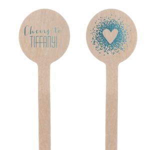 Custom Shiny Turquoise Round Stir Stick with Shiny Turquoise Foil Color has a Tree Heart graphic and is good for use in Hearts themed parties and will make your guests swoon. Personalize your party's theme today.