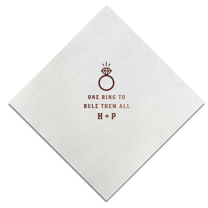 Our custom Ivory Cocktail Napkin with Shiny 18 Kt Gold Foil has a Diamond Ring graphic and is good for use in Wedding, Bridal Shower themed parties and will impress guests like no other. Make this party unforgettable.
