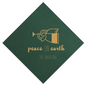 Having a holiday party? Just want to bring the holiday cheer to every corner of your home? Our Peace On Earth napkins with angel clip art are the perfect detail to show off your hostess skills. Keep this Hunter Green or customize to match your home. Personalize with your name for what's sure to be the most memorable holiday season.