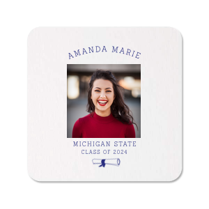 Custom White Photo/Full Color Round Coaster with Matte Cobalt Ink Digital Print Colors has a Graduation Scroll graphic and is good for use in Graduation themed parties and can be customized to complement every last detail of your party.