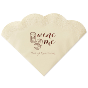 ForYourParty's personalized Ivory Shimmer Cocktail Napkin with Shiny Merlot Imprint Foil Color has a Double Cork graphic  and is good for use in Drink themed parties and will make your guests swoon. Personalize your party's theme today.