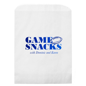Custom White Lunch Bag with Shiny Royal Blue Foil has a Football graphic and is good for use in Sports themed parties and will give your party the personalized touch every host desires.