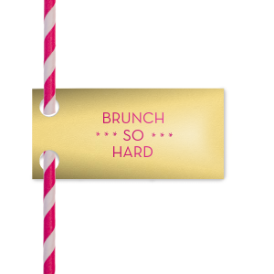 Custom Poptone Mimosa Pennant Straw Tag with Shiny Fuchsia Foil Color couldn't be more perfect. It's time to show off your impeccable taste.