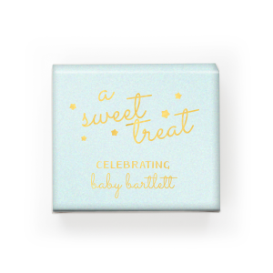 ForYourParty's personalized Stardream Aqua Rectangle Box with Shiny 18 Kt Gold Foil will impress guests like no other. Make this party unforgettable.