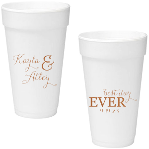 Have the best party accessories ever with these personalized foam cups. The modern calligraphy script makes for a beautiful wedding font. Add your new family name and wedding date for a fun drink detail that can serve hot or cold beverages!