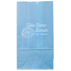 Our beautiful custom Tiffany Blue Gloss Goodie Bag with Matte White Foil has a Donut graphic and is good for use in Food, Birthday themed parties and will impress guests like no other. Make this party unforgettable.