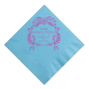 The ever-popular Pastel Yellow Cocktail Napkin with Satin Plum Foil has a Rustic Floral Frame graphic and is good for use in Spring, Easter themed parties and will impress guests like no other. Make this party unforgettable.