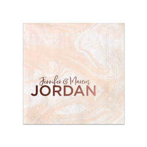 ForYourParty's personalized Marble Blush Cocktail Napkin with Shiny Merlot Foil couldn't be more perfect. It's time to show off your impeccable taste.