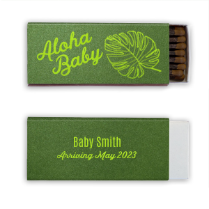 Our custom Poptone Kiwi Classic Matchbox with Shiny Leaf Foil has a Palm Pattern graphic and is good for use in Floral, Tropical, and Organic themed parties and can be personalized to match your party's exact theme and tempo.
