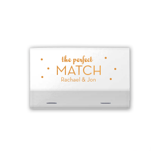 You've found the perfect match! Personalize this polka dot adorned shiny matchbook with the happy couple's names for both a fun complement to your sparkler send off and a memorable custom wedding favor.