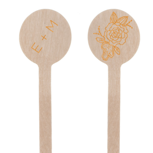Let your personality shine at the bar with these custom stir sticks. Our Peony graphic is just the right trendy touch to accent your initials. Personalize for a delicate floral statement to your greenery themed bridal shower, engagement party or wedding.