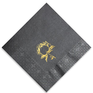 Our custom Navy Cocktail Napkin with Shiny 18 Kt Gold Foil has a Romantic Floral Reception graphic and is good for use in Lovely Press, Floral themed parties and will make your guests swoon. Personalize your party's theme today.