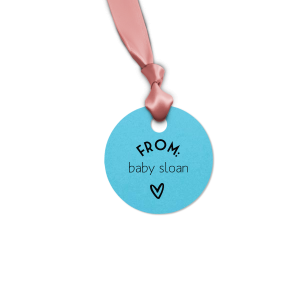 Custom Poptone Turquoise Round Gift Tag with Matte Black Foil will look fabulous with your unique touch. Your guests will agree!
