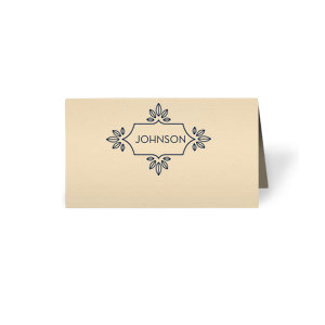 Our beautiful custom Natural Ivory Regal Place Card with Matte Navy Foil has a Love Buds Frame graphic and is good for use in Frames, Floral, Wedding themed parties and couldn't be more perfect. It's time to show off your impeccable taste.