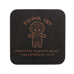 ForYourParty's chic Black with Silver back Deco Coaster with Matte White Foil Color has a Mummy graphic and is good for use in Halloween themed parties and will look fabulous with your unique touch. Your guests will agree!