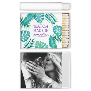 Our beautiful custom White Riviera Photo/Full Color Matchbox with Matte Amethyst Ink Digital Print Colors can't be beat. Showcase your style in every detail of your party's theme!