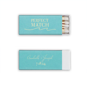 With a Wave graphic and Tiffany Blue paper, these beachy matchboxes are memorable party favors—fabulous for your beach themed or destination wedding.