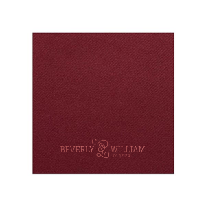 ForYourParty's personalized Merlot Linen Like Cocktail Napkin with Shiny Rose Quartz Foil will make your guests swoon. Personalize your party's theme today.
