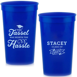 Custom Navy 16 oz Stadium Cup with Matte Sky Blue Ink Cup Ink Colors has a Cap graphic and a Banner graphic and is good for use in Accents, Frames themed parties and will give your party the personalized touch every host desires.