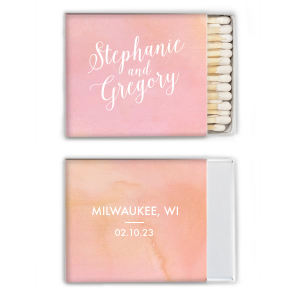 Custom Stardream Rose Gold Classic Matchbox with Shiny Rose Gold Foil will look fabulous with your unique touch. Your guests will agree!
