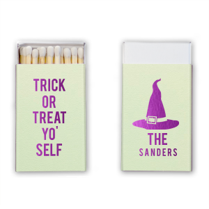 Personalized Poptone Kiwi Cigar Matchbox with Shiny Amethyst Foil has a Witch's Hat graphic and is good for use in Halloween themed parties and will give your party the personalized touch every host desires.