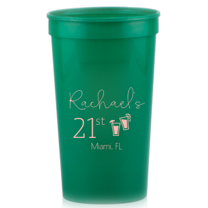 ForYourParty's chic Lime 16 oz Stadium Cup with Matte Dark Magenta Ink Cup Ink Colors has a Drinks graphic and will give your party the personalized touch every host desires.
