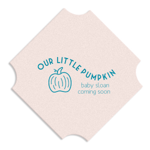Our personalized Blush with Kraft back Nouveau Coaster with Satin Teal / Peacock Foil has a Pumpkin graphic and is good for use in Thanksgiving, Halloween themed parties and couldn't be more perfect. It's time to show off your impeccable taste.
