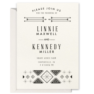 Our beautiful custom Lettra Pearl White 110lb Invitation with Shiny 18 Kt Gold Foil has a Rustic Accommodations graphic and is good for use in Lovely Press themed parties and can be personalized to match your party's exact theme and tempo.
