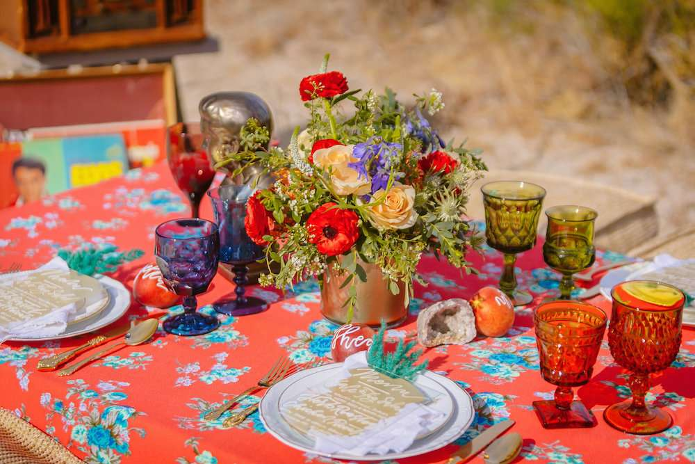 boho dessert wedding red and floral tablescape