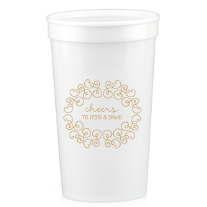 Our beautiful custom White 16 oz Stadium Cup with Gold Ink Cup Ink Colors has a Swirling Soiree graphic and is good for use in Wedding themed parties and are a must-have for your next event—whatever the celebration!