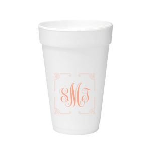 Our beautiful custom 12 oz Styrofoam Cup with Matte Light Coral Ink has a Rococo Frame  graphic and a classic three letter monogram is good for use in Anniversary, Wedding and Birthday themed parties and are a must-have for your next event—whatever the celebration!