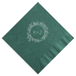 Our custom Sand Cocktail Napkin with Shiny Green Tea Foil has a Peony Circle Frame graphic and is good for use in Floral, Rustic, Wedding themed parties and will look fabulous with your unique touch. Your guests will agree!