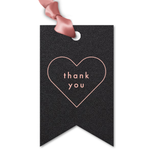 ForYourParty's personalized Stardream Black Double Point Gift Tag with Matte Pastel Pink Foil has a Thank You Heart graphic and is good for use in Wedding, Words, Anniversary themed parties and are a must-have for your next event—whatever the celebration!