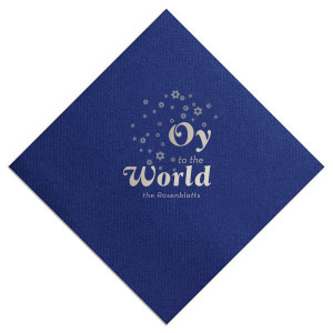 Our custom Navy Dinner Napkin with Shiny Sterling Silver Foil has a Star of David Frame graphic and is good for use in Jewish and Hanukkah themed parties and couldn't be more perfect. It's time to show off your impeccable taste.