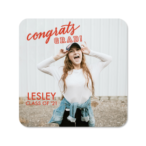 Our custom White Photo/Full Color Square Coaster with Matte Poppy Ink Digital Print Colors has a Congrats graphic and is good for use in Words, Hearts, Wedding themed parties and will add that special attention to detail that cannot be overlooked.