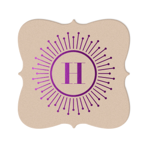 Our custom Kraft with Blush back Nouveau Coaster with Shiny Amethyst Foil Color has a sunburst frame 2 graphic and is good for use in Frames themed parties and can be personalized to match your party's exact theme and tempo.