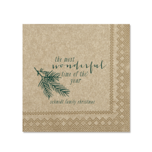 Personalize this Champagne napkin with Matte Spruce foil color for a festive napkin to add to your Christmas party. Our Pine Branch graphic gives just the right trendy touch that every host desires!
