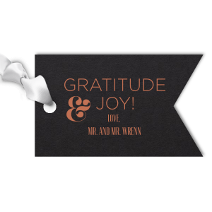 Our custom Natural Black Double Point Gift Tag with Satin Copper Penny Foil will give your party the personalized thank you every guest desires.