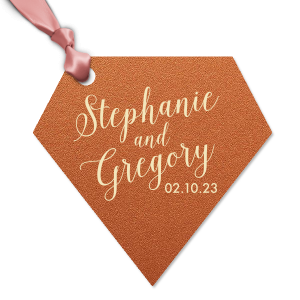 Personalized Stardream Copper Diamond Gift Tag with Matte Ivory Foil can be customized to complement every last detail of your party.