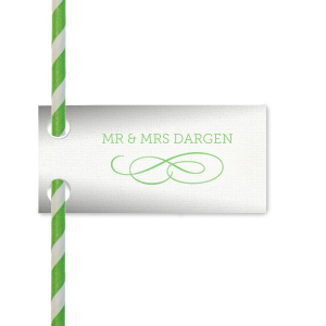 ForYourParty's personalized Linen White Rectangle Straw Tag with Matte Key Lime Foil has a Flourish 12 graphic and can be customized to complement every last detail of your party.