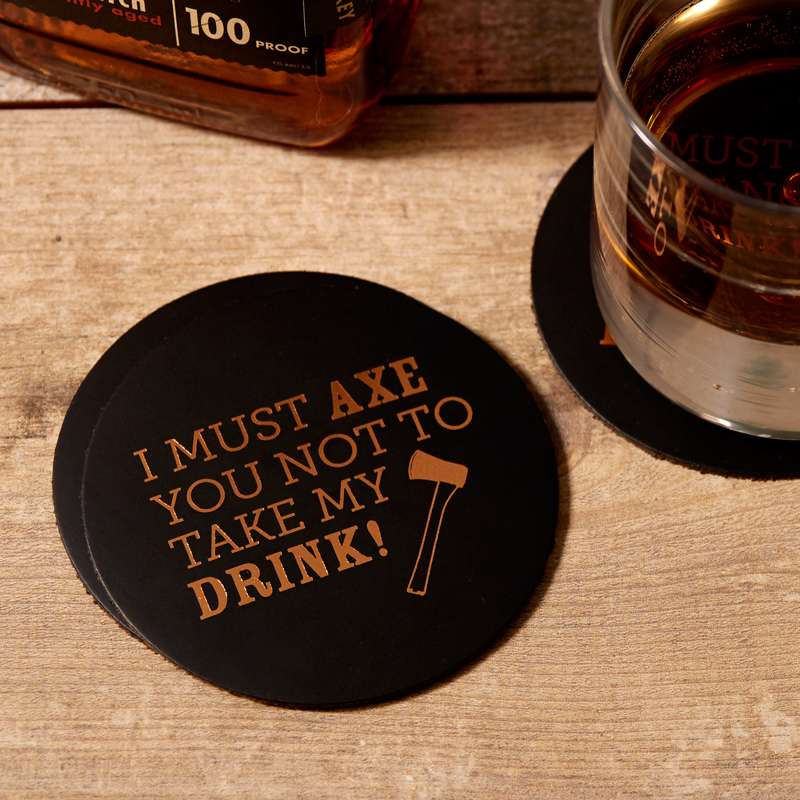 don't take my drink custom leather pun coasters