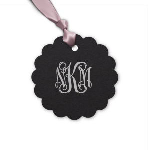 Our custom Natural Black Round Gift Tag with Satin Sterling Silver Foil can't be beat. Showcase your style in every detail of your party's theme!