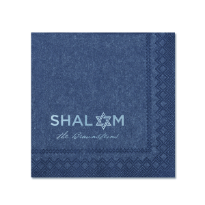 Our custom Navy Shimmer Cocktail Napkin with Shiny Sky Blue Foil Color has a Star 5 graphic and is good for use in Jewish, Star of David themed parties and couldn't be more perfect. It's time to show off your impeccable taste.