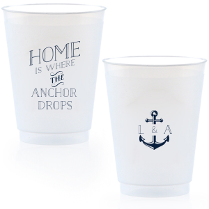Our custom Matte Navy Ink 9 oz Frost Flex Cup with Matte Navy Ink Cup Ink Colors has a Anchor Frame graphic and is good for use in Travel, Beach/Nautical, Father's Day themed parties and can be customized to complement every last detail of your party.